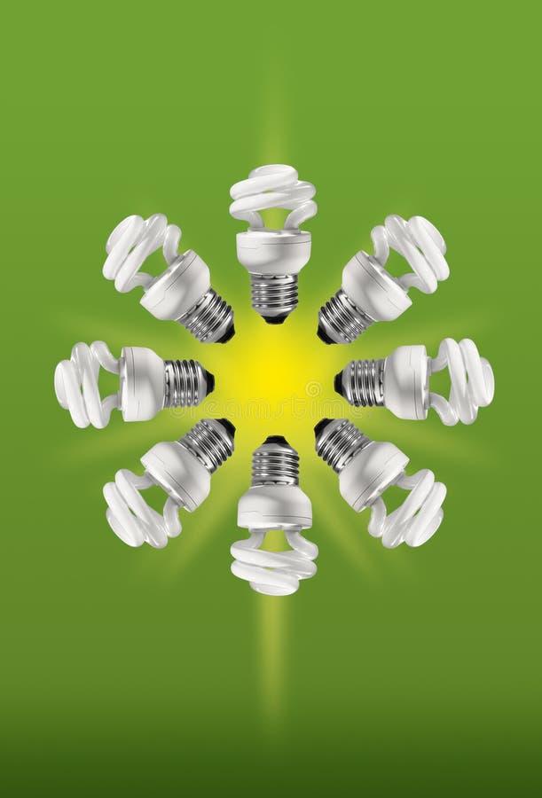 Energie - besparings compacte fluorescente lampen stock afbeelding