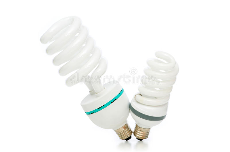 Energie - besparingslamp die op het wit wordt geïsoleerdw royalty-vrije stock foto