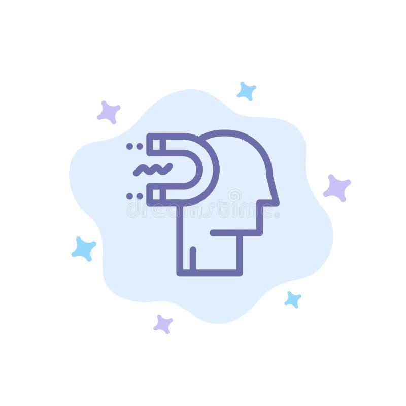 Energie, Einfluss, Verpflichtung, Mensch, Einfluss, Führungs-blaue Ikone auf abstraktem Wolken-Hintergrund stock abbildung