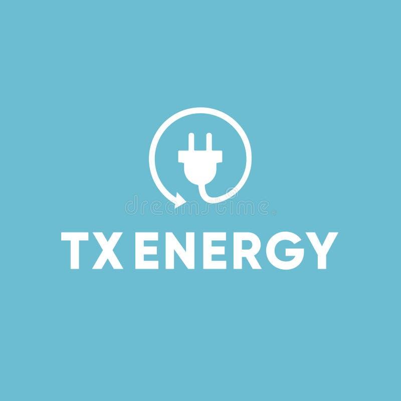 Energie-elektrischer Elektriker Recycle Plug Logo stockfoto