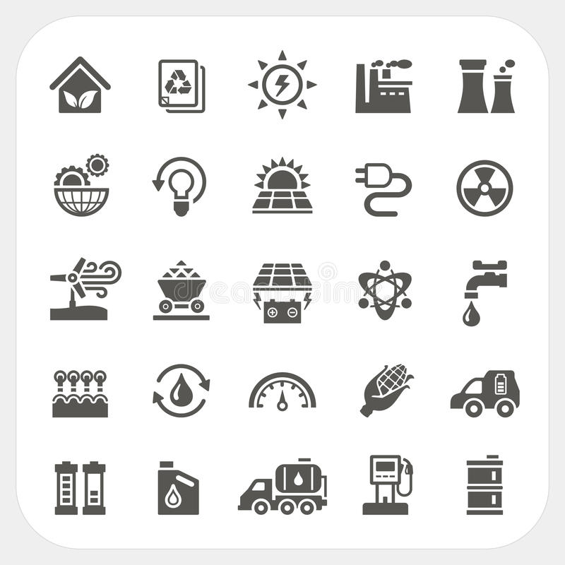 Energie en Machts geplaatste pictogrammen stock illustratie