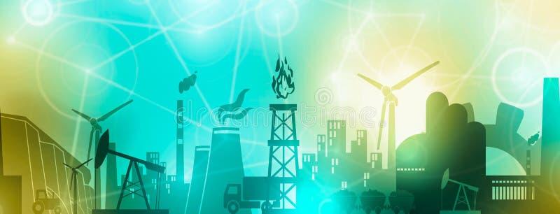 Energie en Machts geplaatste pictogrammen Kopbalbanner royalty-vrije illustratie