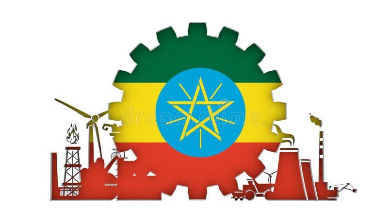 Energie en Machtspictogrammen met vlag worden geplaatst die royalty-vrije illustratie