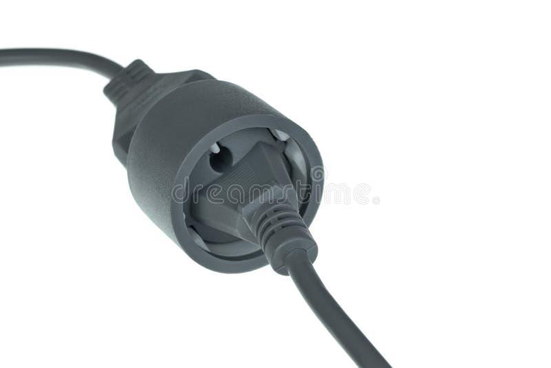 Energie-Erweiterungs-Kabel lokalisiert auf weißem Hintergrund stockbild