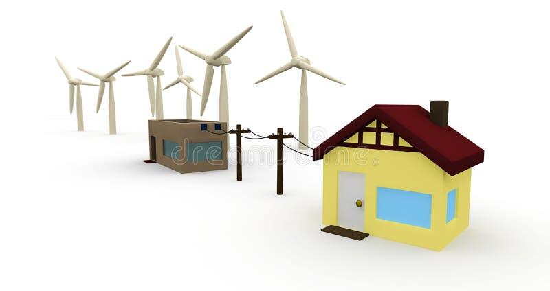 Energie: Huis tot Windlandbouwbedrijf wordt vastgehaakt voor Energie die royalty-vrije illustratie