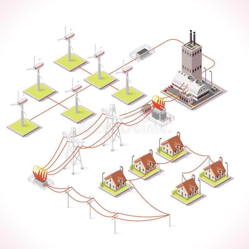 Energie 12 Isometrische Infographic royalty-vrije illustratie