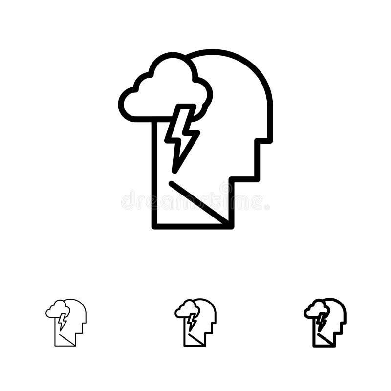 Energie, mental, mental, mental, énergie Gras et mince ensemble d'icônes de ligne noire illustration stock