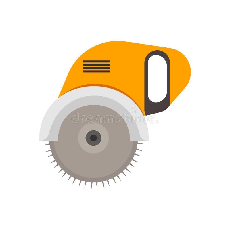 Energie sah industrielle ausführende professionelle manuelle Stahltechnologie Kreisdrehelektrowerkzeugblatt-Vektorikone vektor abbildung
