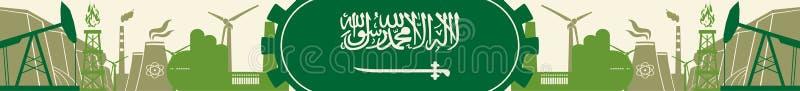Energie- und Energieikonen eingestellt Titelfahne mit Saudi-Arabien Flagge vektor abbildung