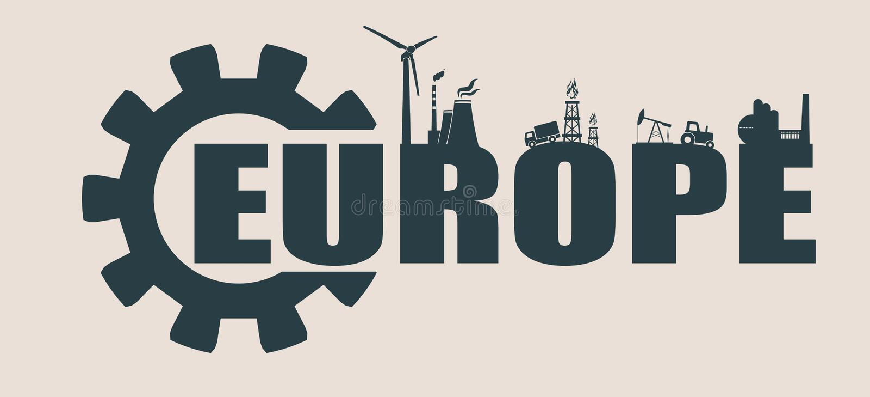 Energie- und Leistungikonen Europa-Wort vektor abbildung
