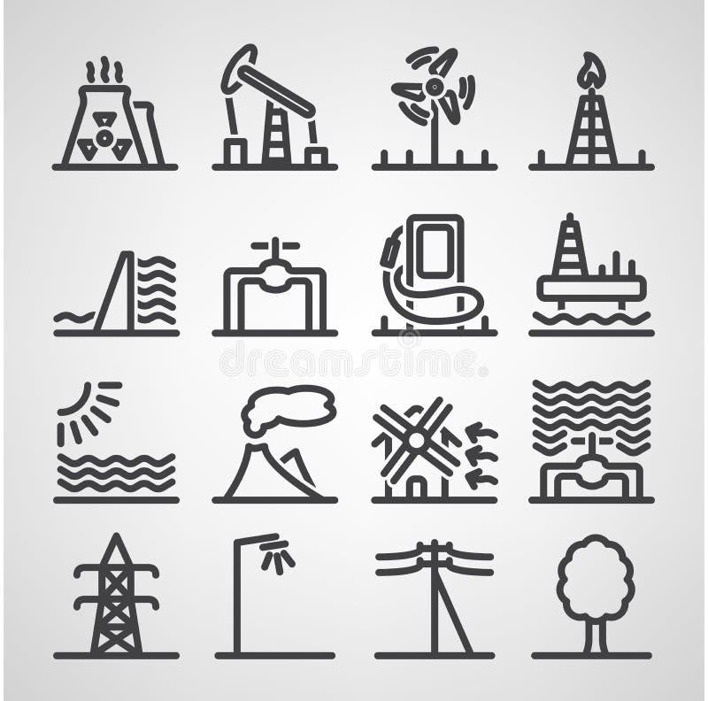 Energie- und Ressourcenikonensatz lizenzfreie abbildung