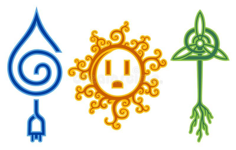 Energie van de Wind van het water de Zonne vector illustratie