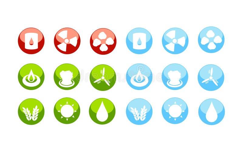 Energiebronnenpictogram dat door gevaar wordt geplaatst stock illustratie