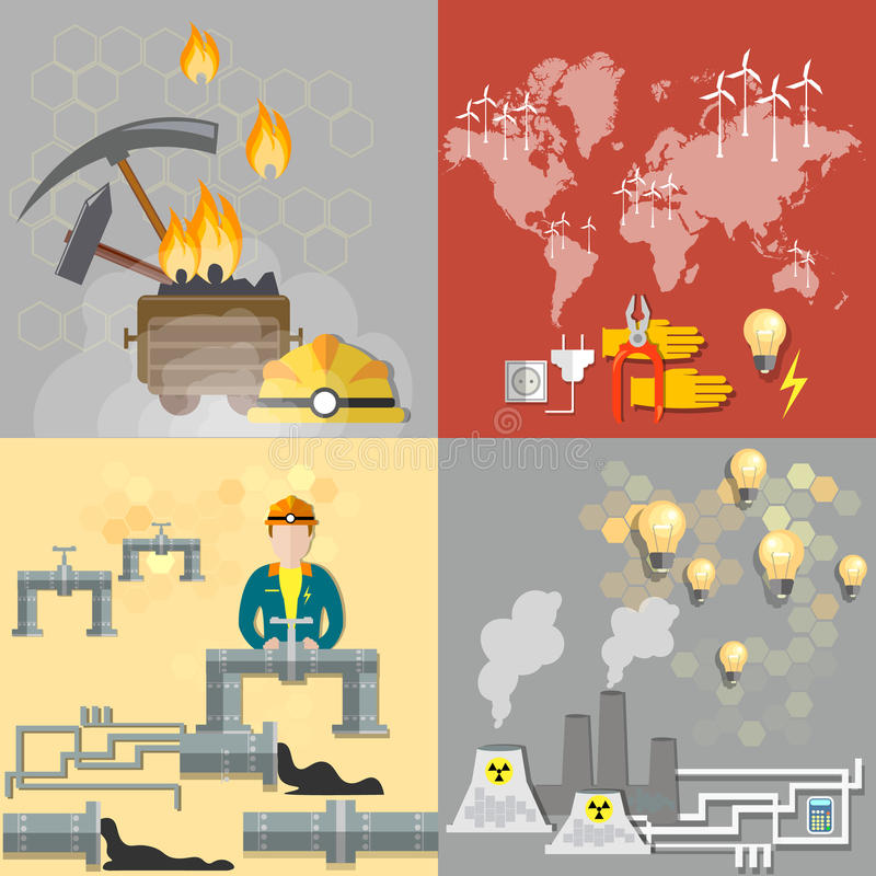 Energieconcept: aardolie, steenkool, kernenergieinstallaties vector illustratie