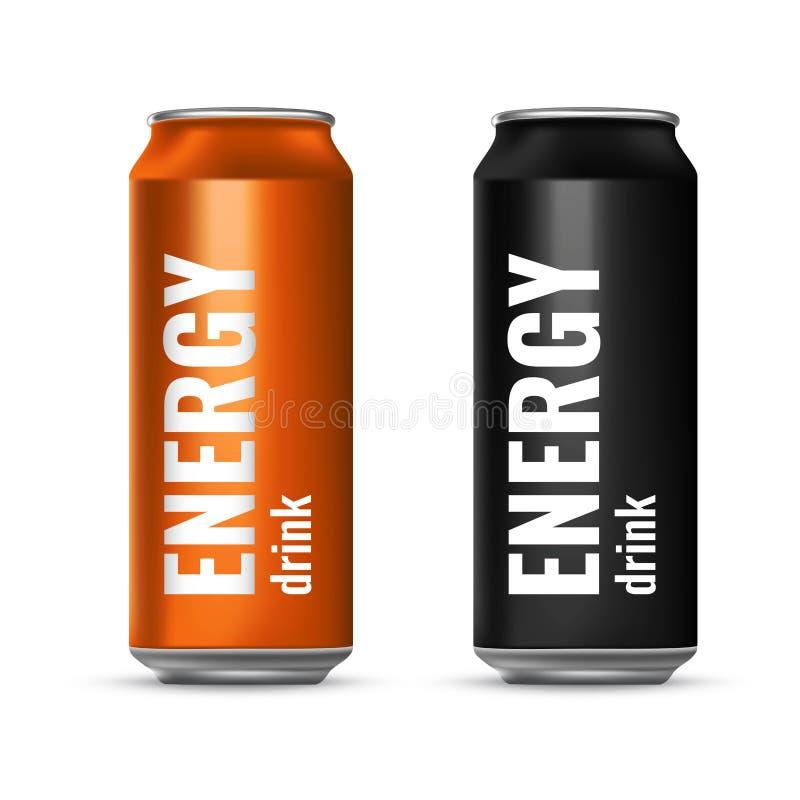 Energiedrank in een tinblik Vlucht koeldrank Vector 3d illustratie royalty-vrije illustratie