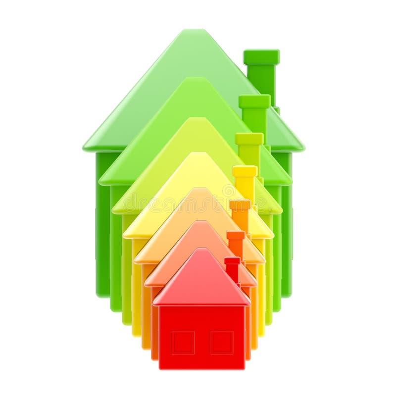 Energieeffizienz als Hausbalkendiagramm lizenzfreie abbildung