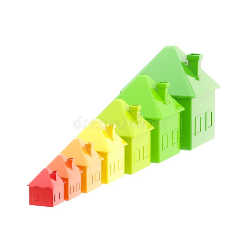 Energieeffizienz als Hausbalkendiagramm vektor abbildung