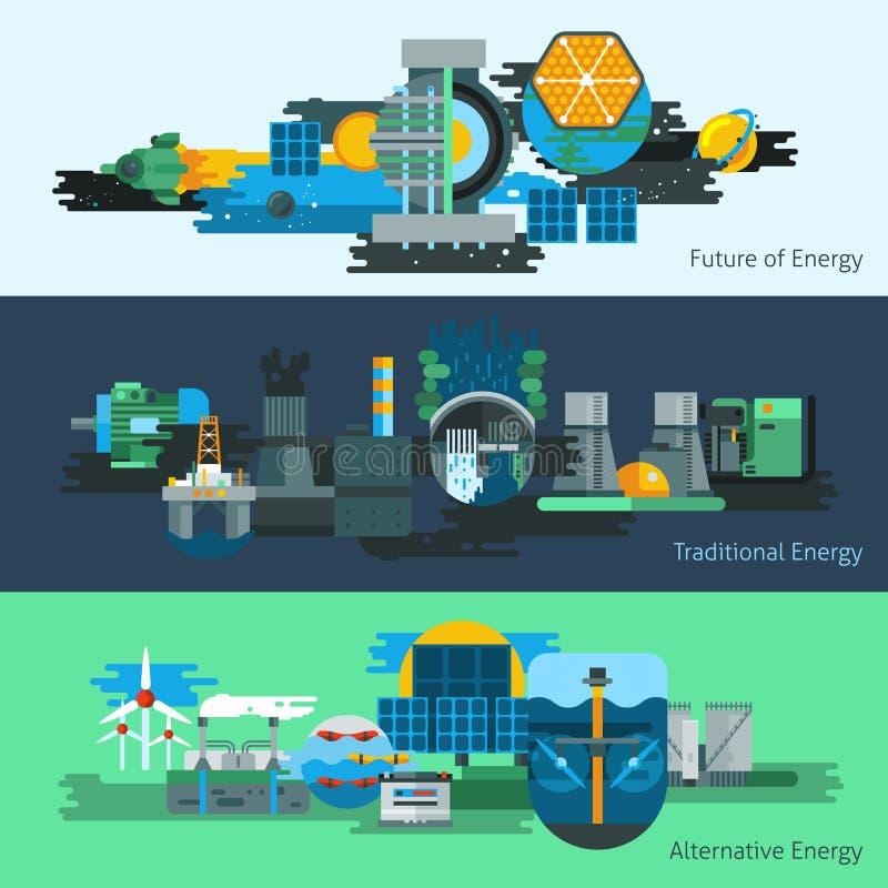 Energieerzeugungsfahnensatz vektor abbildung