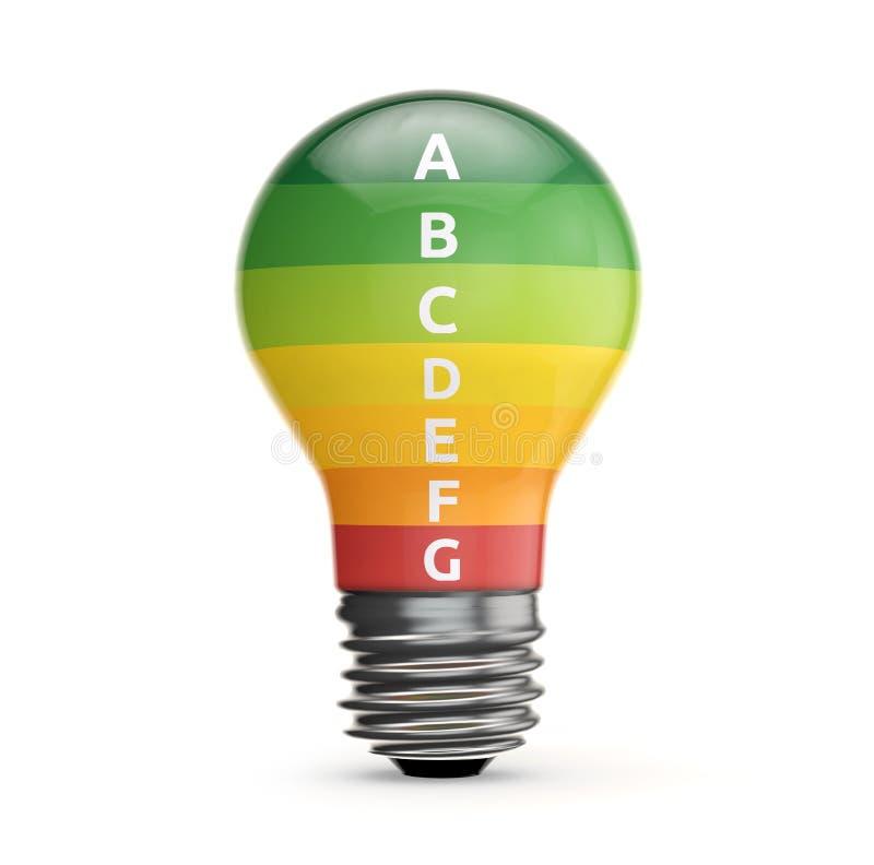 Energieetiket binnen gloeilamp royalty-vrije illustratie