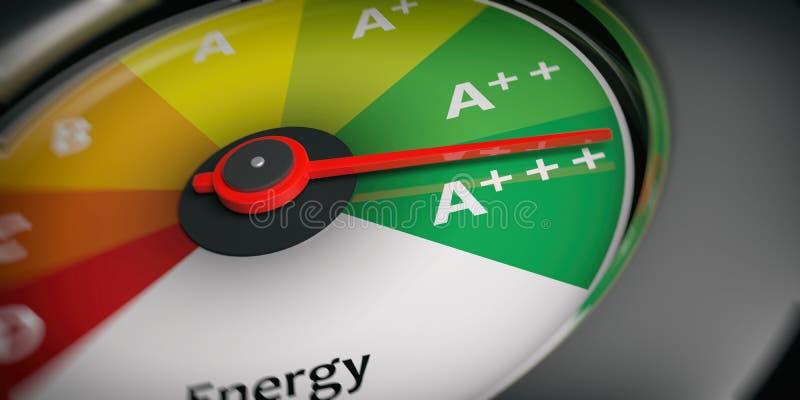energieffektivitet för tolkning 3d som bilhastighetsmätaren stock illustrationer