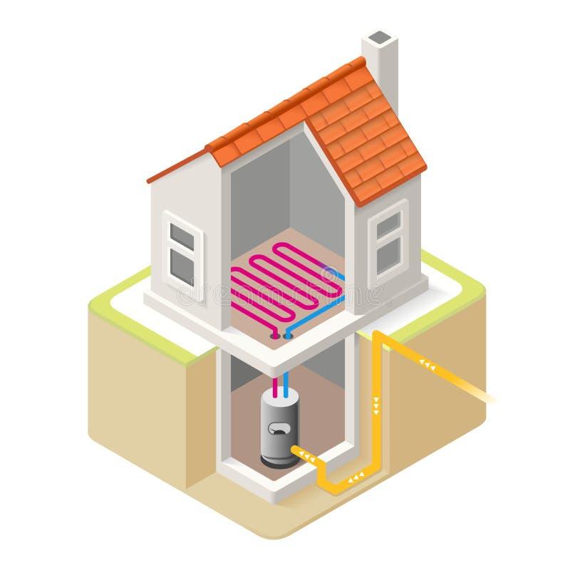 Energieketen 04 Isometrische de Bouw royalty-vrije illustratie