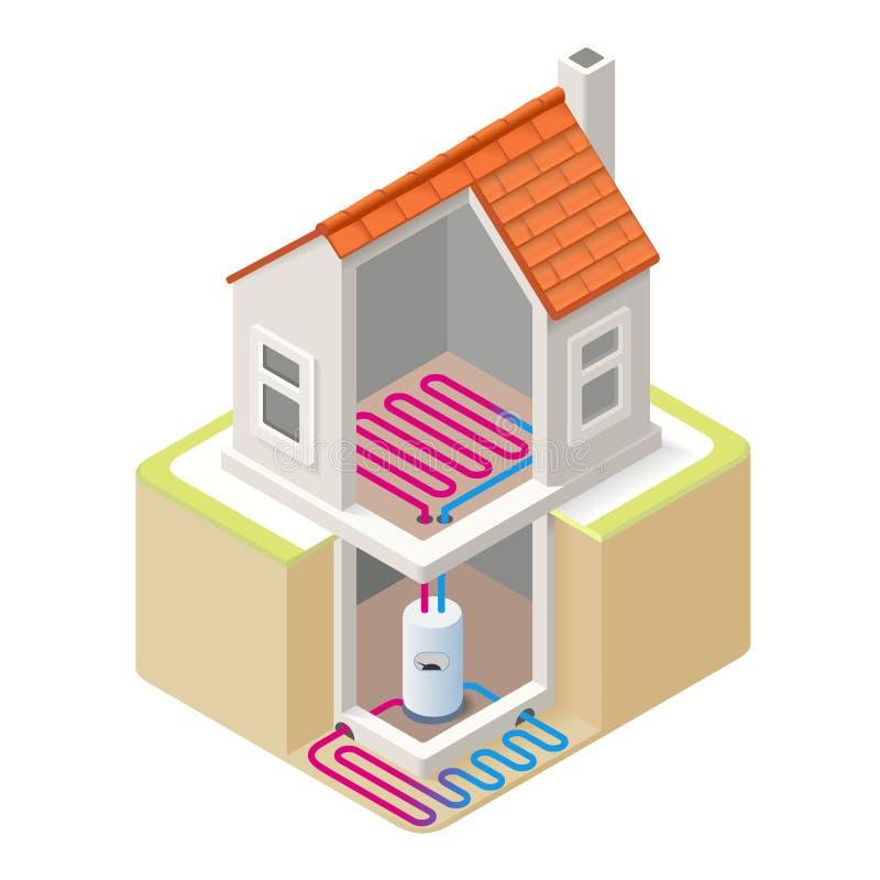 Energieketen 05 Isometrische de Bouw stock illustratie
