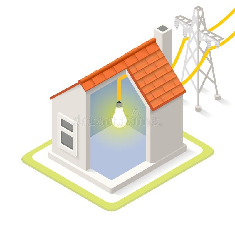 Energieketen 08 Isometrische de Bouw stock illustratie