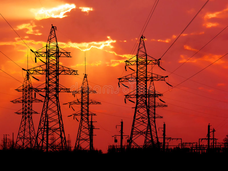 Energiekontrolltürme. stockfotografie