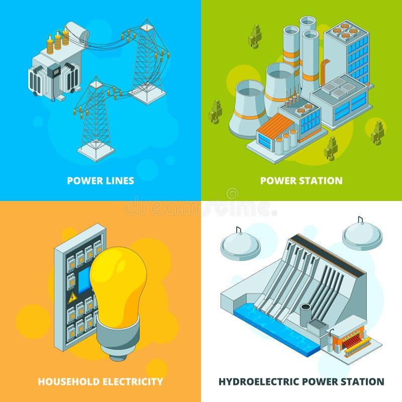 EnergieKraftwerke Isometrische Konzeptbilder des elektrischen Symbolgeneratorhochspannungsgetriebevektors lizenzfreie abbildung
