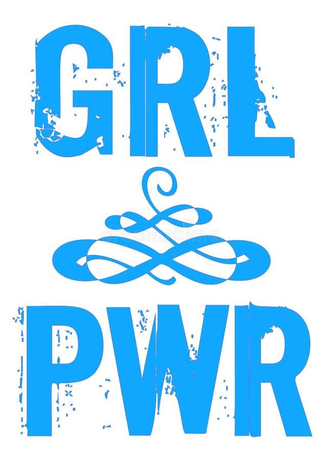 Energiemädchenvektor-Phrase Beschriftung PWR GRL für Design stock abbildung