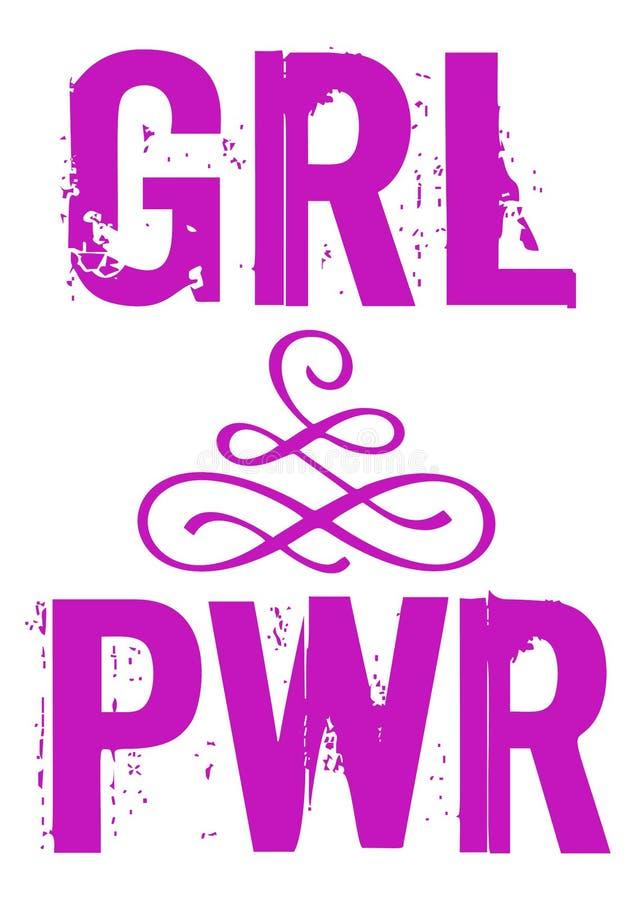 Energiemädchenvektor-Phrase Beschriftung PWR GRL für Design vektor abbildung