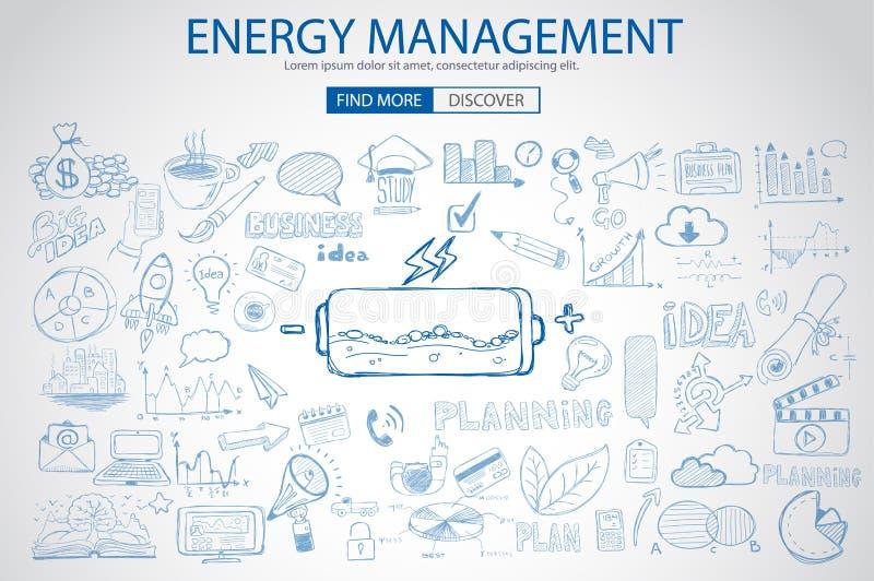 Energiemanagement mit Gekritzeldesignart: Energieeinsparungen vektor abbildung