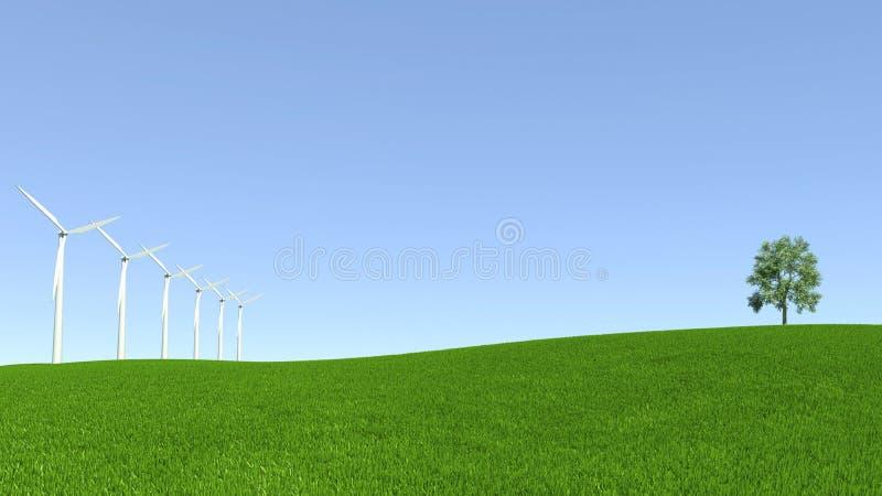 Energiemiddelen, windturbine en schoon milieu stock illustratie