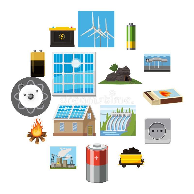 Energiequelleneinzelteilikonen eingestellt, Karikaturart lizenzfreie abbildung