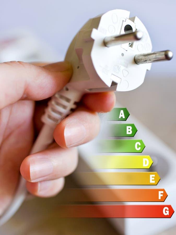 Energierendementetiket voor huis/elektriciteits en geldbesparingen - stop in een hand royalty-vrije stock fotografie