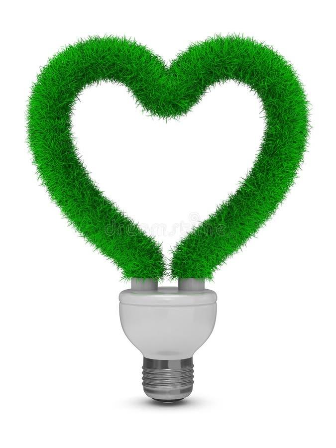 Energiesparende Birne auf weißem Hintergrund vektor abbildung