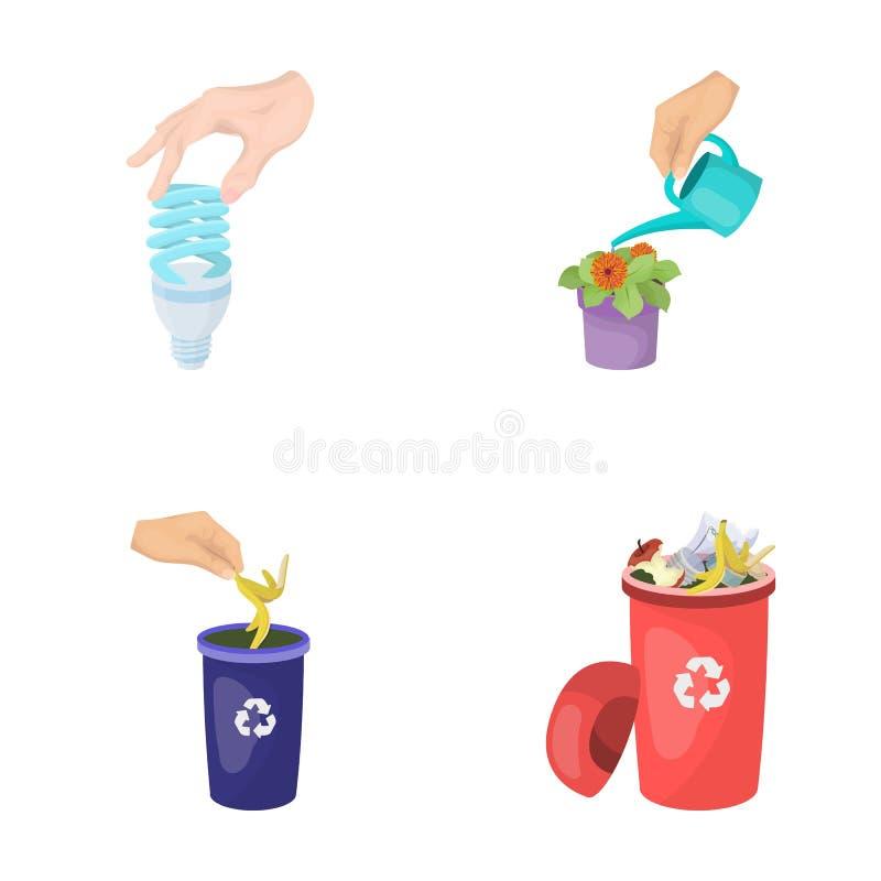 Energiesparende Glühlampe, einen Houseplant und andere Netzikone in der Karikaturart wässernd Mülleimer mit Abfall und Abfall lizenzfreie abbildung