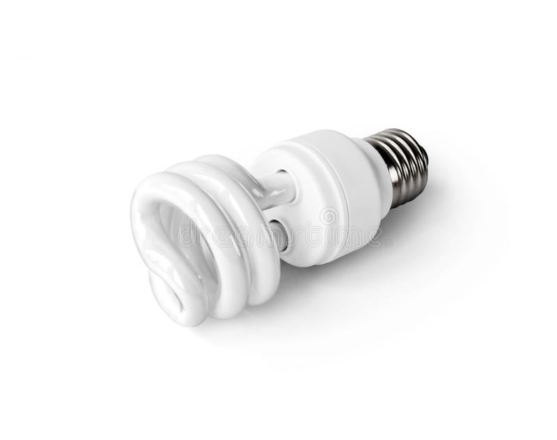 Energiesparende Leuchtstoff Glühlampe auf weißem Hintergrund vektor abbildung