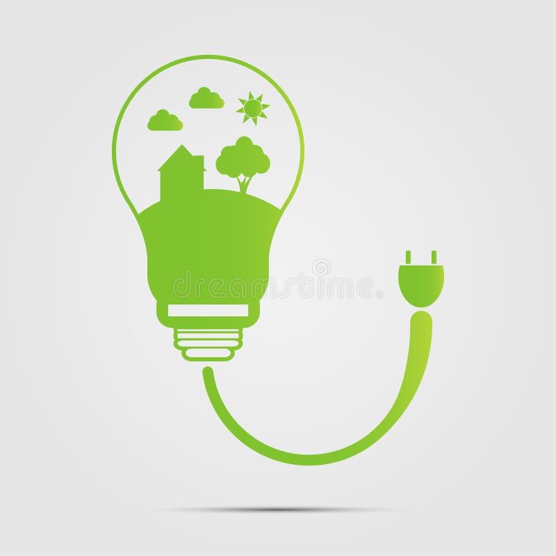 Energiesparendes digitales Design in den Glühlampen sind energiesparende Häuser Photorealistic Ausschnittskizze stock abbildung