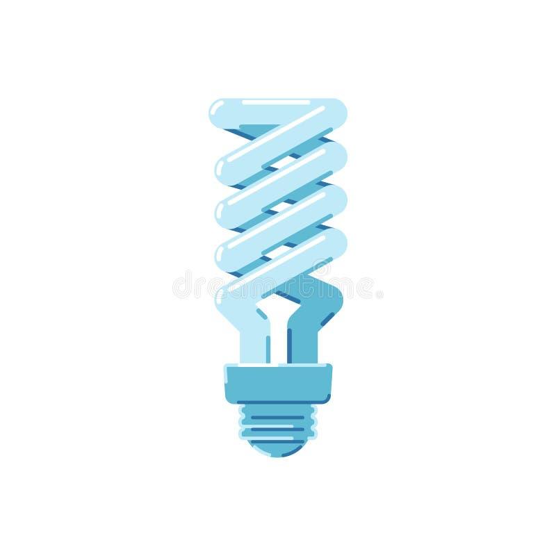 Energiesparlampe auf einem weißen Hintergrund Flache Artikone lizenzfreie abbildung
