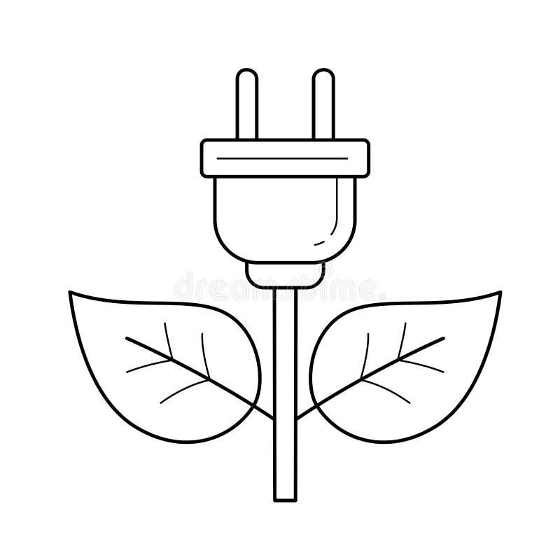 Energiestecker-Vektorlinie Ikone lizenzfreie abbildung