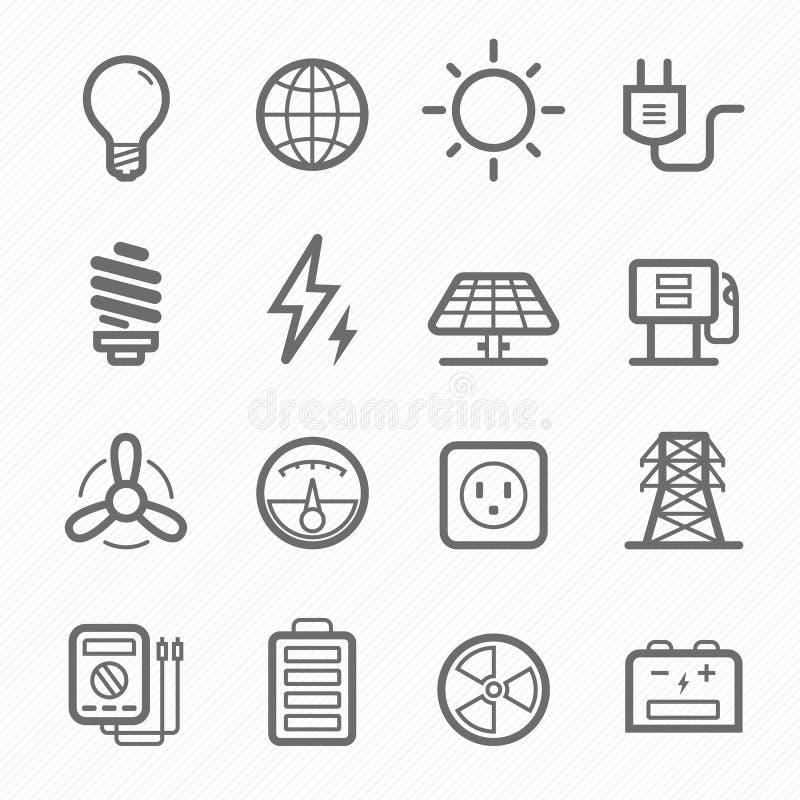 Energiesymbollinie Ikonensatz lizenzfreie abbildung