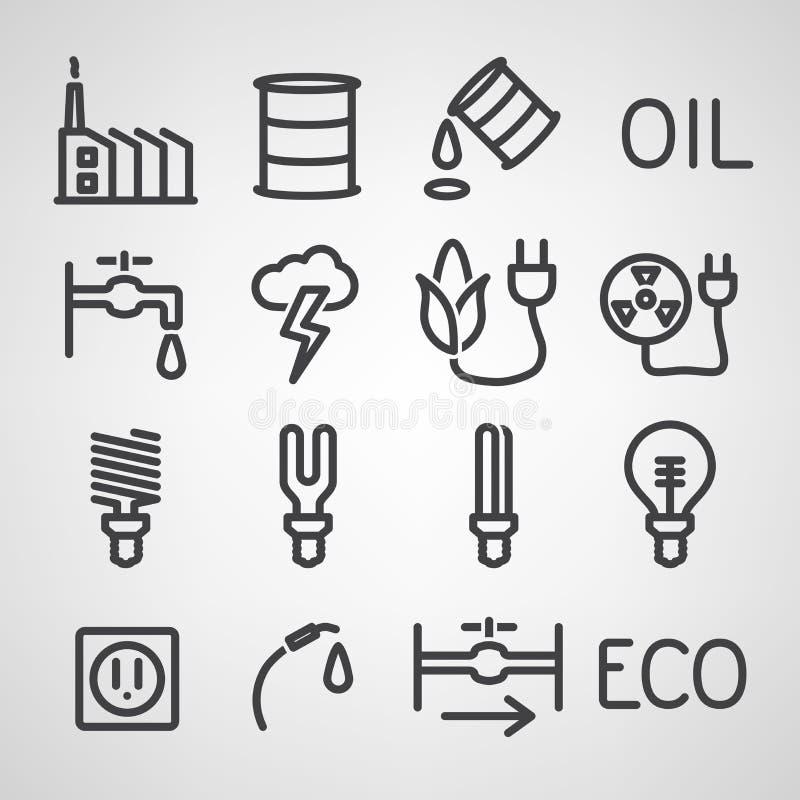 Energii i zasoby ikony set royalty ilustracja