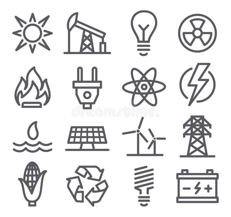 Energii kreskowe ikony royalty ilustracja