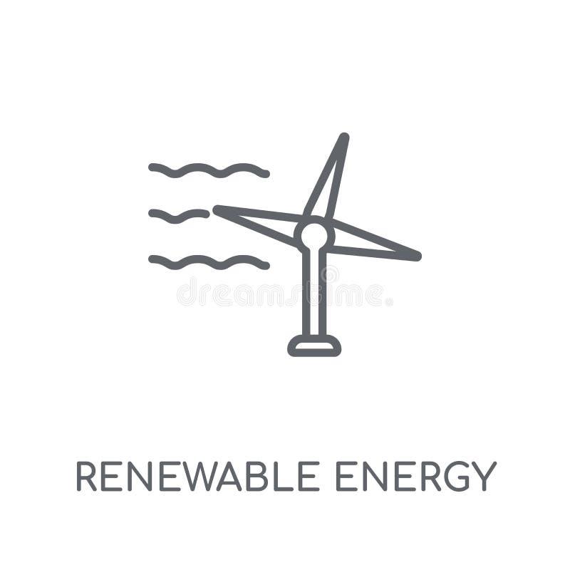 Energii odnawialnej liniowa ikona Nowożytny kontur energii odnawialnej lo royalty ilustracja