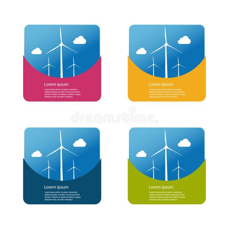 Energii Odnawialnej pojęcie - silniki wiatrowi I chmury Z tłem ilustracja wektor