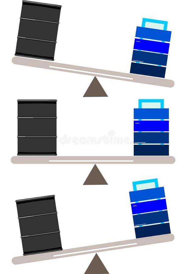 Energijämvikt Illustration av en skala med en råoljatrumma och på det annat slutet ett elektriskt batteri vektor illustrationer