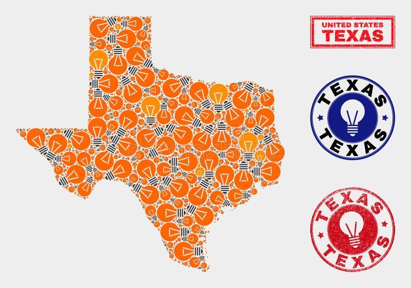 Energikula mosaiska Texas State Map och texturerade stämplar stock illustrationer
