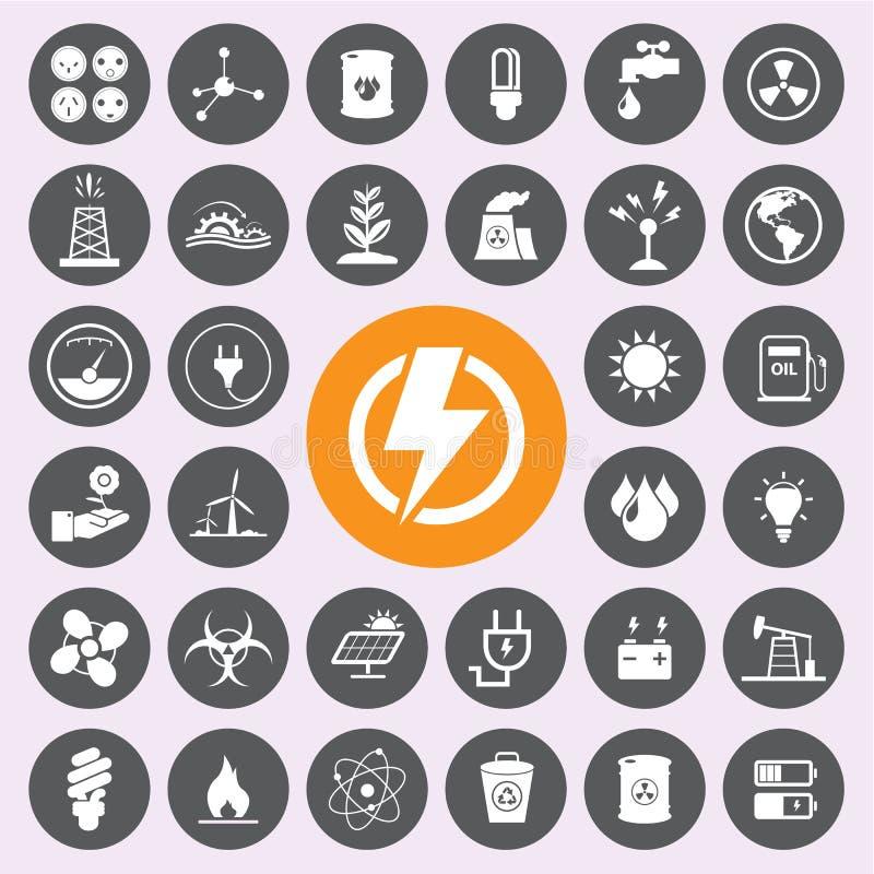 Energimakt- och miljösymbolsuppsättning Vector/EPS10 stock illustrationer