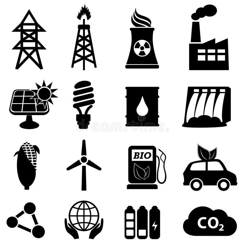 Energisymbolsset stock illustrationer